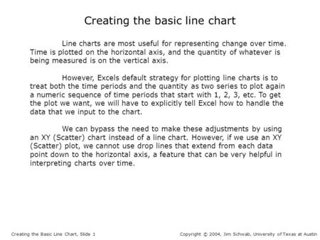 Creating the basic line chart Line charts are most useful for representing change over time. Time is plotted on the horizontal axis, and the quantity of.