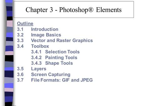 Chapter 3 - Photoshop® Elements Outline 3.1 Introduction 3.2 Image Basics 3.3 Vector and Raster Graphics 3.4 Toolbox 3.4.1 Selection Tools 3.4.2 Painting.