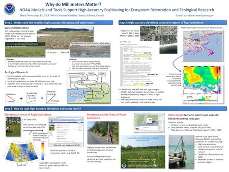 Why do Millimeters Matter? NOAA Models and Tools Support High Accuracy Positioning for Ecosystem Restoration and Ecological Research Surface too low: too.