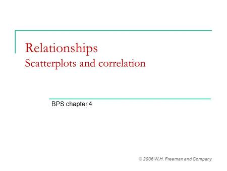 Relationships Scatterplots and correlation BPS chapter 4 © 2006 W.H. Freeman and Company.