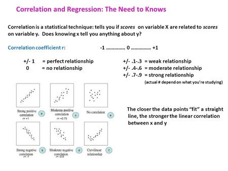 Correlation and Regression: The Need to Knows Correlation is a statistical technique: tells you if scores on variable X are related to scores on variable.