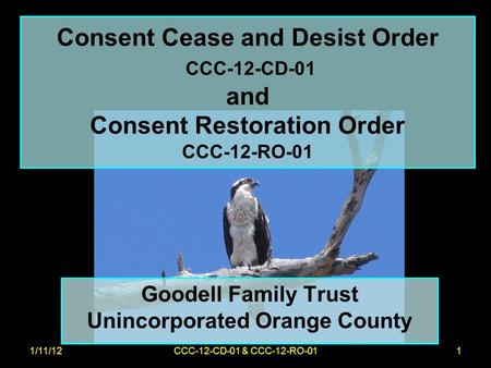 1/11/12CCC-12-CD-01 & CCC-12-RO-011 Consent Cease and Desist Order CCC-12-CD-01 and Consent Restoration Order CCC-12-RO-01 Goodell Family Trust Unincorporated.