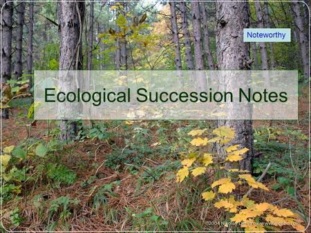 Ecological Succession Notes Noteworthy. What is succession? A number of persons or things following one another in order or sequence. Example: Succession.