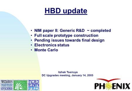 1 HBD update Itzhak Tserruya DC Upgrades meeting, January 14, 2005 NIM paper II: Generic R&D ~ completed Full scale prototype construction Pending issues.