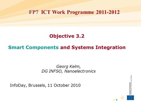 1 Objective 3.2 Smart Components and Systems Integration Georg Kelm, DG INFSO, Nanoelectronics InfoDay, Brussels, 11 October 2010 FP7 ICT Work Programme.