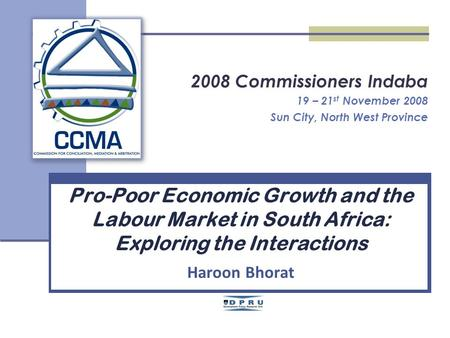 2008 Commissioners Indaba 19 – 21 st November 2008 Sun City, North West Province Pro-Poor Economic Growth and the Labour Market in South Africa: Exploring.