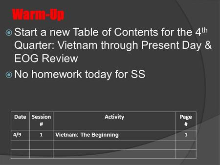 Warm-Up  Start a new Table of Contents for the 4 th Quarter: Vietnam through Present Day & EOG Review  No homework today for SS DateSession # ActivityPage.