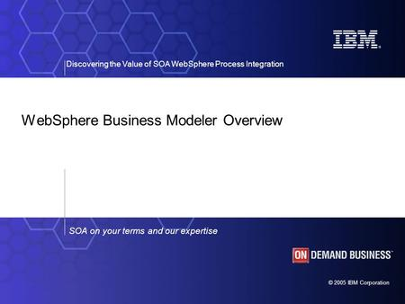 © 2005 IBM Corporation Discovering the Value of SOA WebSphere Process Integration SOA on your terms and our expertise WebSphere Business Modeler Overview.