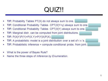 QUIZ!! T/F: Probability Tables PT(X) do not always sum to one. FALSE