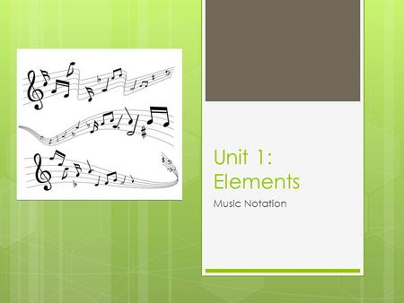 Unit 1: Elements Music Notation. Notating Pitch  Notation – a system of writing music  Pitches are notated by notes on a staff  Staff – set of five.