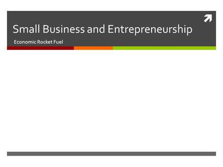  Small Business and Entrepreneurship Economic Rocket Fuel.