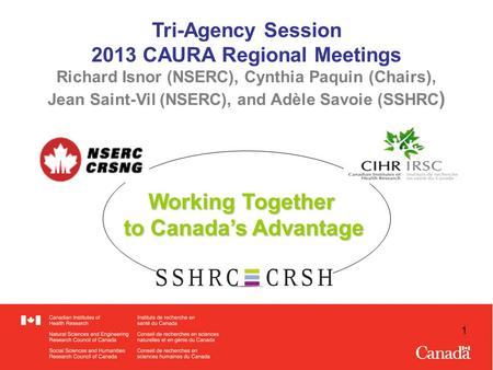 1 Tri-Agency Session 2013 CAURA Regional Meetings Richard Isnor (NSERC), Cynthia Paquin (Chairs), Jean Saint-Vil (NSERC), and Adèle Savoie (SSHRC ) Working.