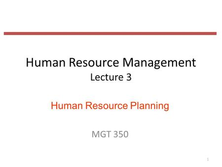Human Resource Management Lecture 3 Human Resource Planning MGT 350 1.