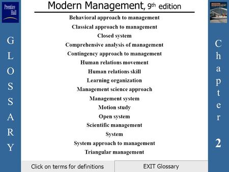 Chapter2Chapter2 GLOSSARYGLOSSARY EXIT Glossary Modern Management, 9 th edition Click on terms for definitions Behavioral approach to management Classical.