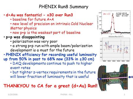 PHENIX Run8 Summary d+Au was fantastic! - x30 over Run3 baseline for future A+A new level of precision on intrinsic Cold Nuclear Matter physics now p+p.