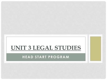 HEAD START PROGRAM UNIT 3 LEGAL STUDIES. MS. MANSON CONTACT DETAILS Staffroom: Commerce 2 (opposite Room 23)