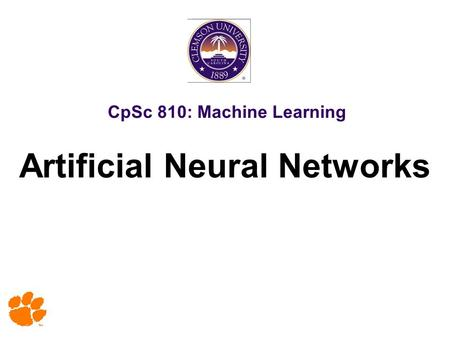 CpSc 810: Machine Learning