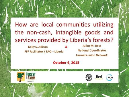How are local communities utilizing the non-cash, intangible goods and services provided by Liberia's forests? Kolly S. Allison & FFF Facilitator / FAO.