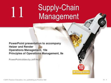 11 - 1© 2011 Pearson Education, Inc. publishing as Prentice Hall 11 Supply-Chain Management PowerPoint presentation to accompany Heizer and Render Operations.