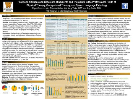 Facebook Attitudes and Behaviors of Students and Therapists in the Professional Fields of Facebook Attitudes and Behaviors of Students and Therapists in.