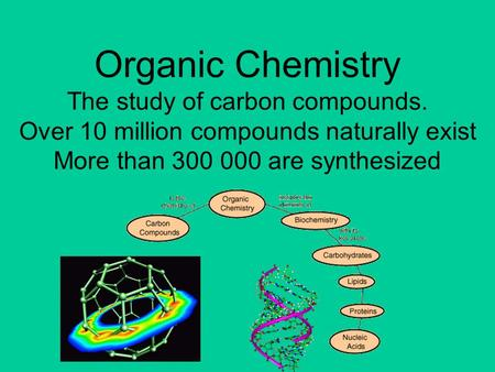 21/10/99 Organic Chemistry The study of carbon compounds. Over 10 million compounds naturally exist More than 300 000 are synthesized.