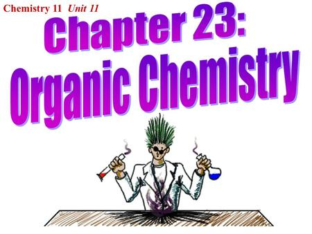"Chemistry 11 Unit 11. I.Introduction: Organic chemistry is the chemistry of CARBON compounds. The name ""organic"" refers to how many of these compounds."