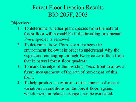 Forest Floor Invasion Results BIO 205F, 2003 Objectives: 1.To determine whether plant species from the natural forest floor will reestablish if the invading.