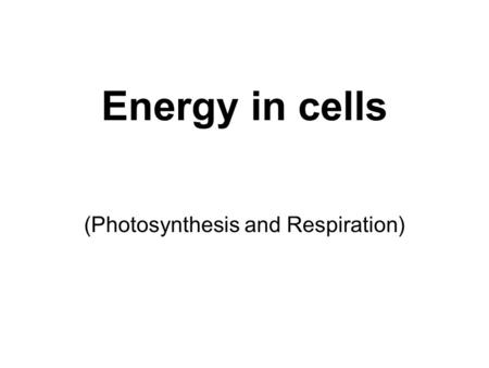 Energy in cells (Photosynthesis and Respiration).