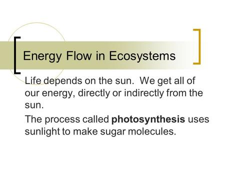 Energy Flow in Ecosystems Life depends on the sun. We get all of our energy, directly or indirectly from the sun. The process called photosynthesis uses.