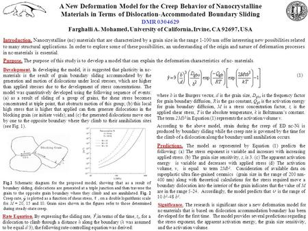 A New Deformation Model for the Creep Behavior of Nanocrystalline Materials in Terms of Dislocation-Accommodated Boundary Sliding DMR 0304629 Farghalli.