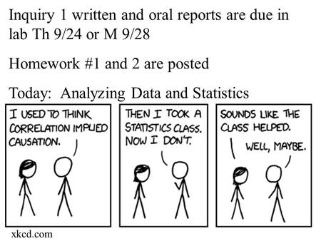 Inquiry 1 written and oral reports are due in lab Th 9/24 or M 9/28 Homework #1 and 2 are posted Today: Analyzing Data and Statistics xkcd.com.