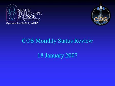 SPACE TELESCOPE SCIENCE INSTITUTE Operated for NASA by AURA COS Monthly Status Review 18 January 2007.
