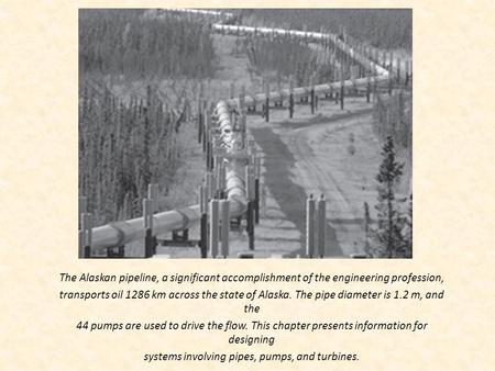 The Alaskan pipeline, a significant accomplishment of the engineering profession, transports oil 1286 km across the state of Alaska. The pipe diameter.
