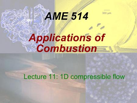 AME 514 Applications of Combustion Lecture 11: 1D compressible flow.