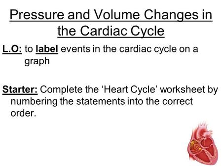 Pressure and Volume Changes in the Cardiac Cycle L.O: to label events in the cardiac cycle on a graph Starter: Complete the 'Heart Cycle' worksheet by.