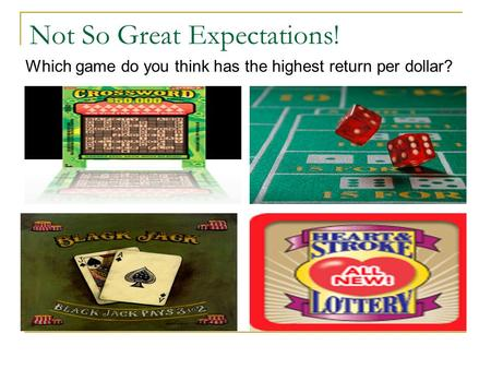 Not So Great Expectations! Which game do you think has the highest return per dollar?