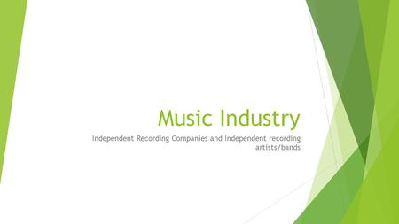 Music Industry Independent Recording Companies and Independent recording artists/bands.