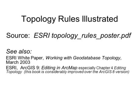 Topology Rules Illustrated Source: ESRI topology_rules_poster.pdf See also: ESRI White Paper, Working with Geodatabase Topology, March 2003 ESRI, ArcGIS.