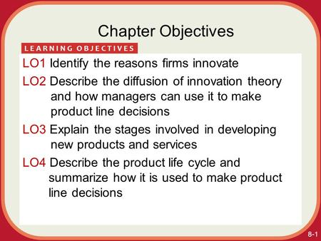 8-1 Chapter Objectives LO1 Identify the reasons firms innovate LO2 Describe the diffusion of innovation theory and how managers can use it to make product.