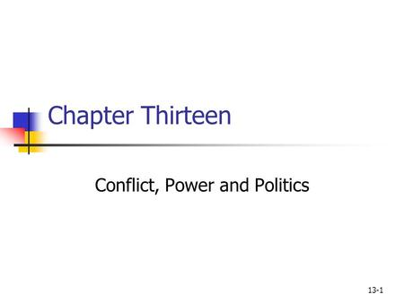 13-1 Chapter Thirteen Conflict, Power and Politics.
