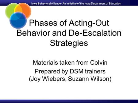 Iowa Behavioral Alliance - An Initiative of the Iowa Department of Education Phases of Acting-Out Behavior and De-Escalation Strategies Materials taken.