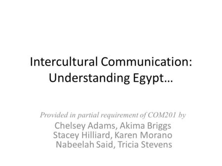 Intercultural Communication: Understanding Egypt… Provided in partial requirement of COM201 by Chelsey Adams, Akima Briggs Stacey Hilliard, Karen Morano.