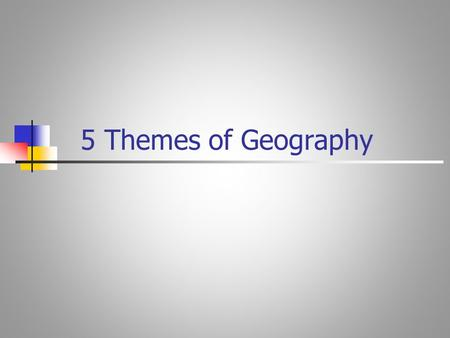 5 Themes of Geography. GEOGRAPHY Study of people, their environment and resources.