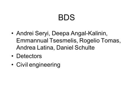 BDS Andrei Seryi, Deepa Angal-Kalinin, Emmannual Tsesmelis, Rogelio Tomas, Andrea Latina, Daniel Schulte Detectors Civil engineering.