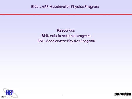 1 BNL LARP Accelerator Physics Program Resources BNL role in national program BNL Accelerator Physics Program.