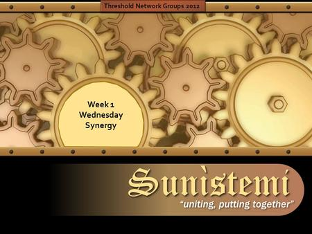 "SunìstemiSunìstemi ""uniting, putting together"" Week 1 Wednesday Synergy Threshold Network Groups 2012."