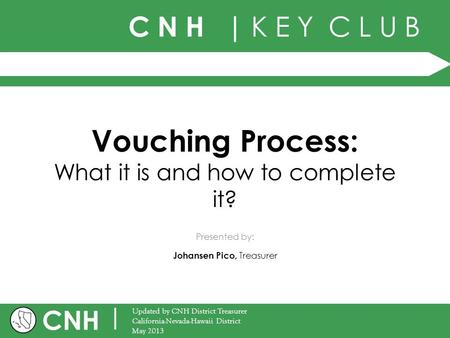 C N H | K E Y C L U B CNH | Updated by CNH District Treasurer California-Nevada-Hawaii District May 2013 Presented by: Vouching Process: What it is and.