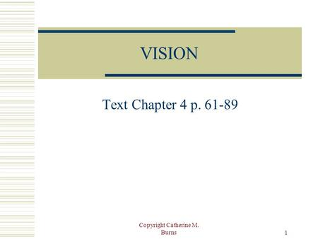 Copyright Catherine M. Burns 1 VISION Text Chapter 4 p. 61-89.