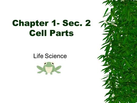 Chapter 1- Sec. 2 Cell Parts Life Science. A World of Cells  Cell- is the basic unit of structure in living things that carry out life processes. –Many.