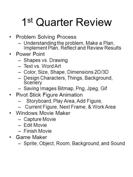 1 st Quarter Review Problem Solving Process –Understanding the problem, Make a Plan, Implement Plan, Reflect and Review Results Power Point –Shapes vs.